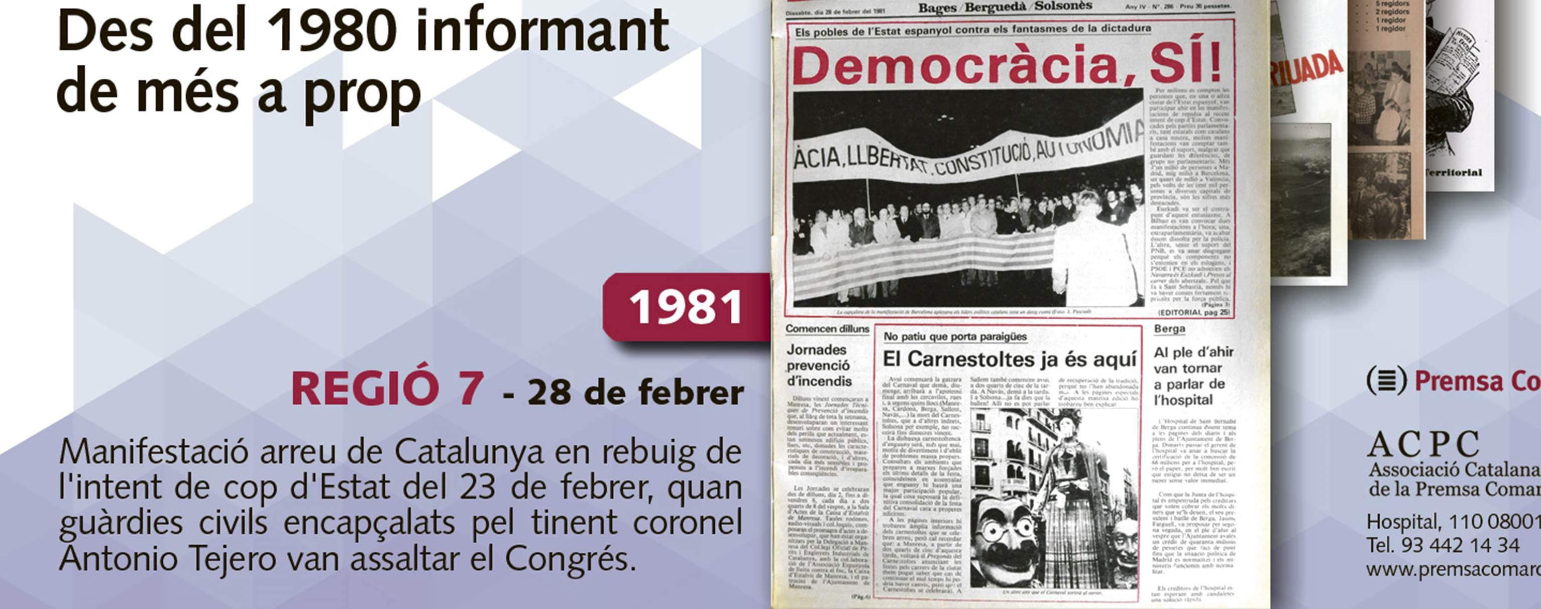 L'intent de cop d'estat del 81 vist per 'Regió 7', segona portada que celebra els 35 anys de l'ACPC