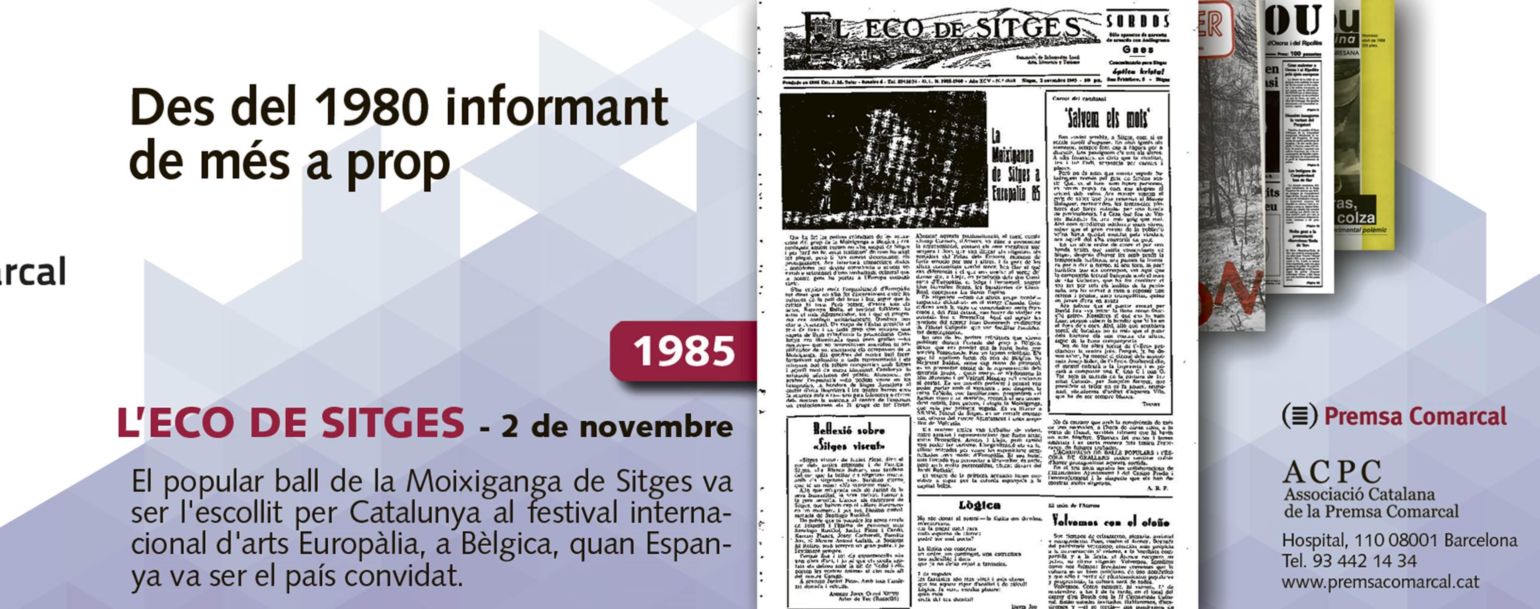 'L'Eco de Sitges' explicava el 1985 que la Moixiganga va representar Catalunya a Europa