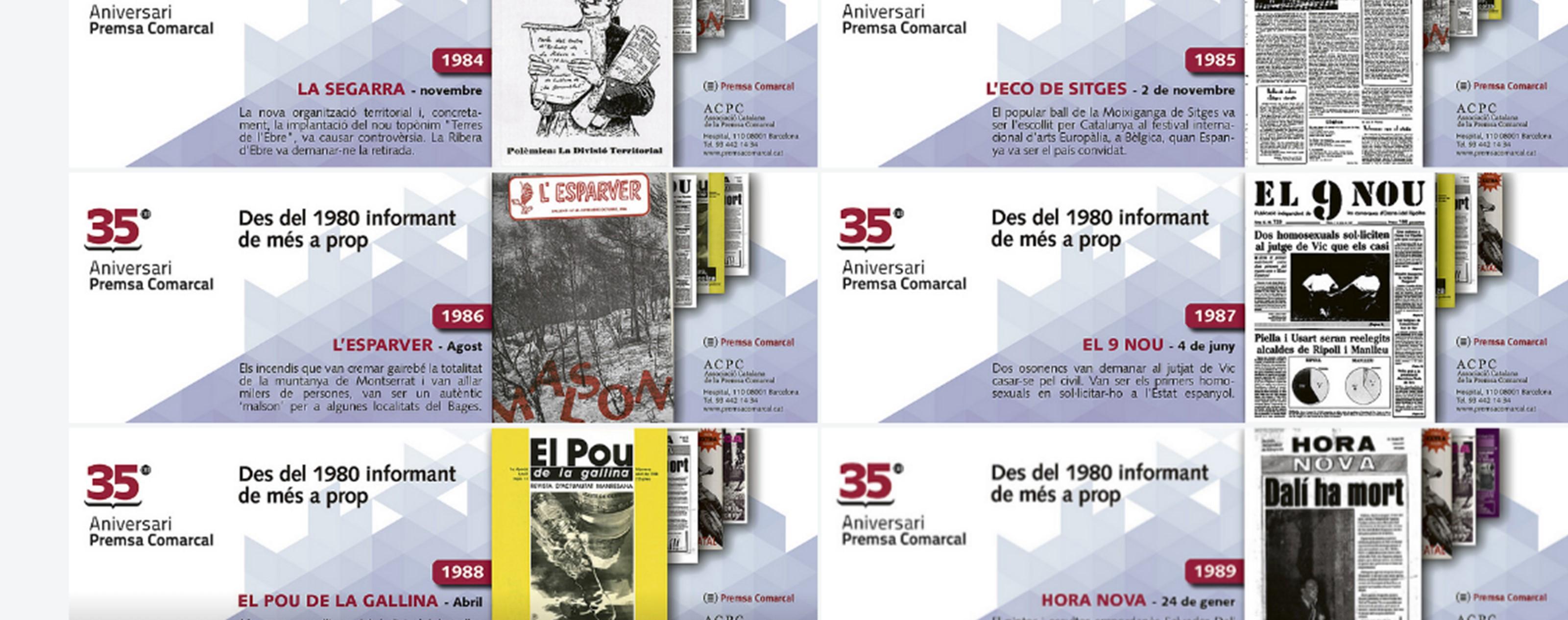 Les portades publicades setmanalment en la campanya dels 35 anys de l'ACPC