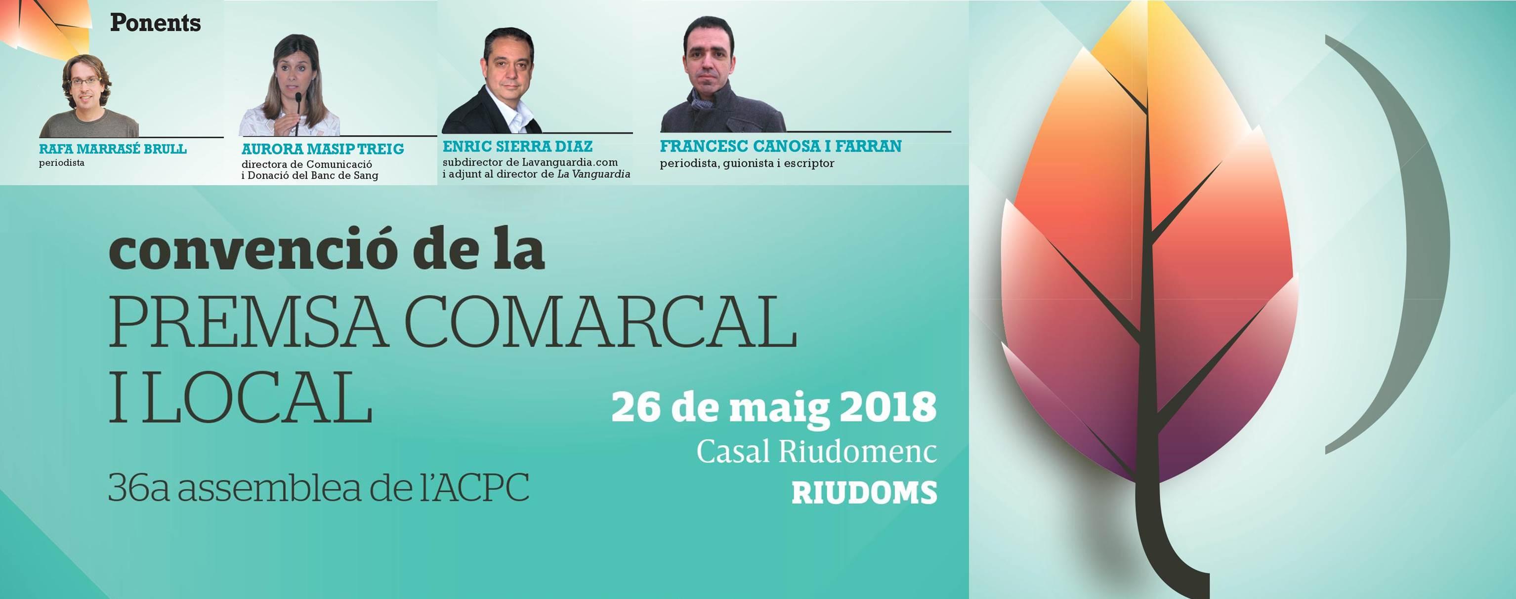 Ja podeu consultar el programa de l'Assemblea i Convenció de l'ACPC del 26 de maig a Riudoms