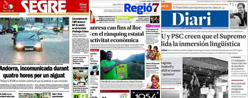 Segre, Diari de Tarragona i Regió 7 els comarcals catalans més llegits
